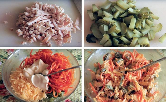 процесс приготовления салата Лисичка