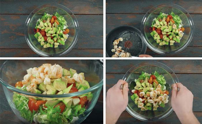 готовим салат и заправляем соусом